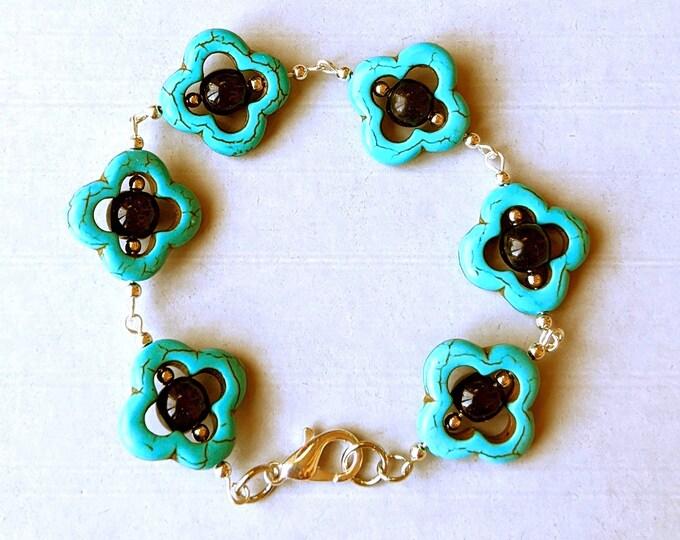 Lucky Turquoise Quatrefoil Black Obsidian Earrings and Bracelet Set