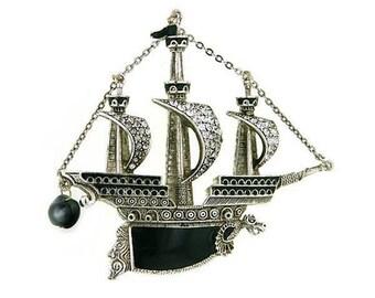 Black Pearl - Enameled Ship Brooch - Renaissance Victorian Elizabethan