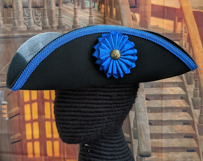 Blue Trimmed Pleated Cockade Tricorn - Protester's Hat - Succession