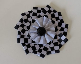 Checky Cockade - Black and White Ribbon  SCA Sable and Argent Heraldry