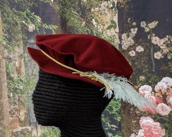 Burgundy Tudor - Elizabethan Velveteen Flat Cap with Cord Hatband