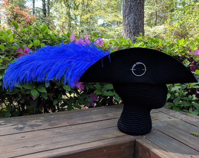 Cavalier Hat - Circle Brooch - Ostrich Feather - Black Felt SCA Hat