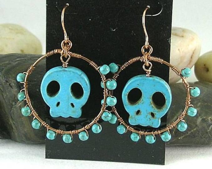 Aztec Native American Memento Mori Turquoise Skull Hoops