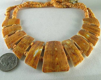 Aztec Mayan Native American Spiny Oyster Necklace