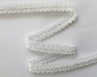 "SALE French Gimp -  1/2"" White Flat Trim - Renaissance Faire - Victorian"