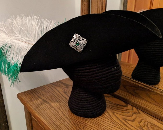 Laced Tricorn with Square Scroll Brooch - Felt Hat - Revolutionary