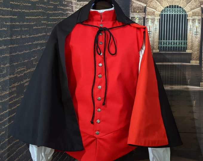 In Stock - Red Lining Black Fencing 1/2 Cape - SCA Fighting Rapier