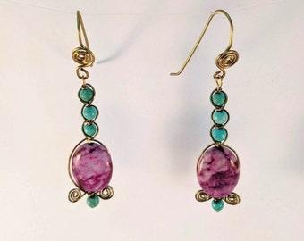 Turquoise & Sugilite Earrings -Healing - Love - Speak Truth