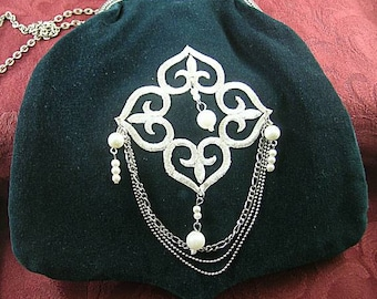 Green Velveteen Shoulder Purse w/ Pearl Applique - Renaissance - Victorian