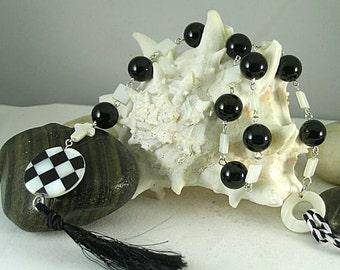 SCA Checky - Black Onyx & White MOP Rosary #2 - Chaplet - Paternoster