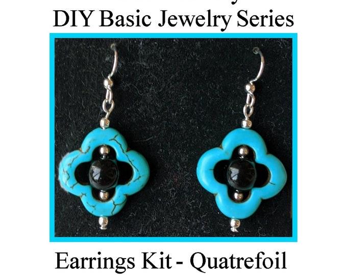 DIY Jewelry Kit - Turquoise Quatrefoil Earrings w  Obsidian Beads