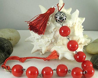 Pomander Red Glass Bead Tenner with Tassel - Chaplet - Paternoster