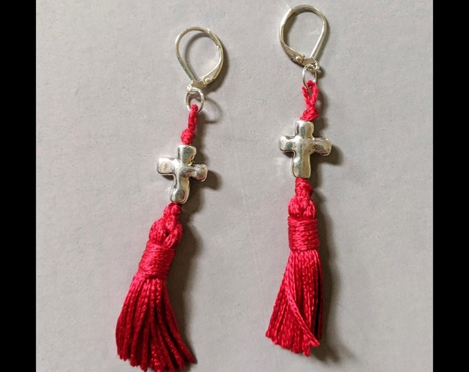 Sexy Red Tassel with Silver Cross Earrings - Lever Back Ear Hooks