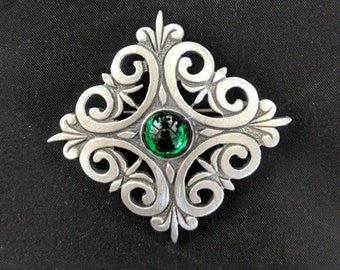 Renaissance Scroll Brooch - Handmade Pewter Pin