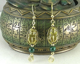 Bronze Scarab Earrings - Malachite Sacred Spiral Ear wires - Egyptian