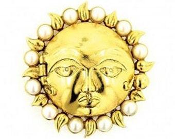 Vintage Zodiac Sun Brooch - Antiquities - Elizabethan Renaissance - Victorian