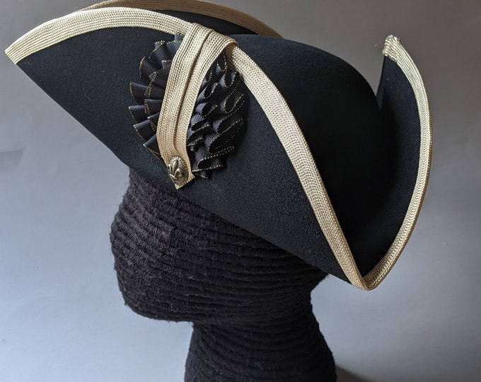 Edge Trimmed Tricorn - Gold Edging - Black and Gold Double Cockade - Colonial Tricorn