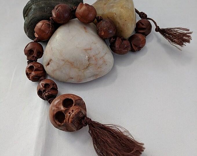 Carved Wooden Skull Beads - Paternoster - Gothic - Memento Mori
