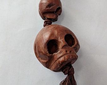 Huge Carved Wooden Skull Bead - Paternoster - Gothic - Memento Mori
