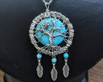 North Star - Tree of Life Pendant - Turquoise - Spiral - Guiding Light