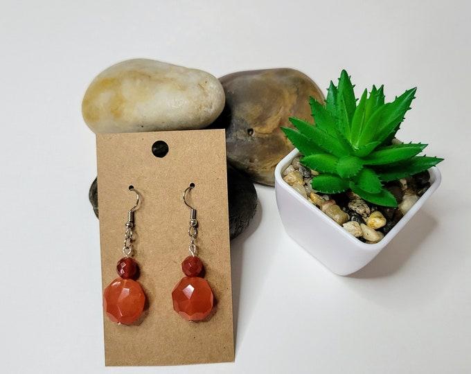 Carnelian Dangle Drop Earrings - Healing Crystal Earrings - Faceted Stone Earrings