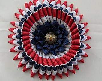 Double Combo Cockade - American Pride  - French Les Mis - Ribbon Rosette