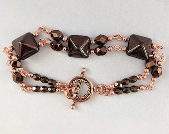 Copper & Bronze Czech Glass Bead Bracelet