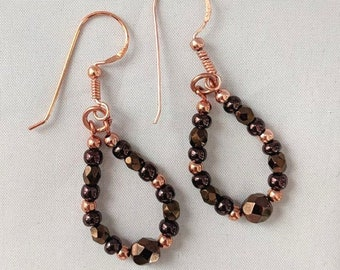 Copper & Bronze Czech Glass Bead Earrings - Boho Loop Earrings