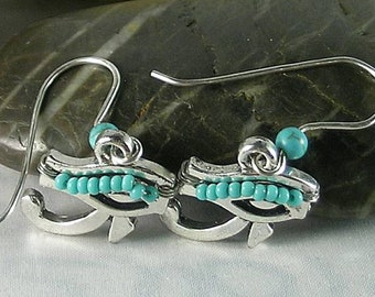Eye of Horus - Wadjet Egyptian Sky God - Turquoise Ra Sun God Earrings