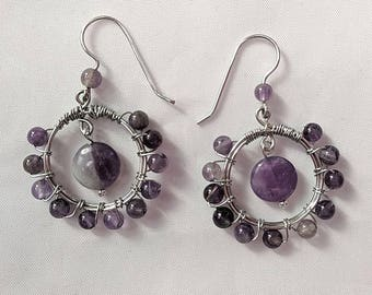 Amethyst Hoop Earrings - Wire Wrapped Pendant - February Birth Stone