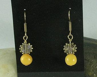 Butterscotch Amber with Sun Symbol Dangle Earrings - Sunshine