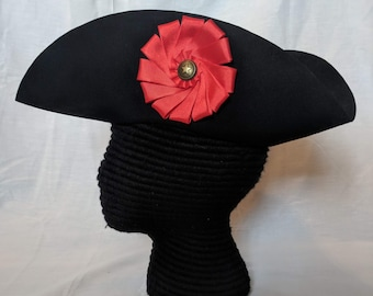 Red Cockade Tricorn - Field Officer's - Colonial American Felt Hat