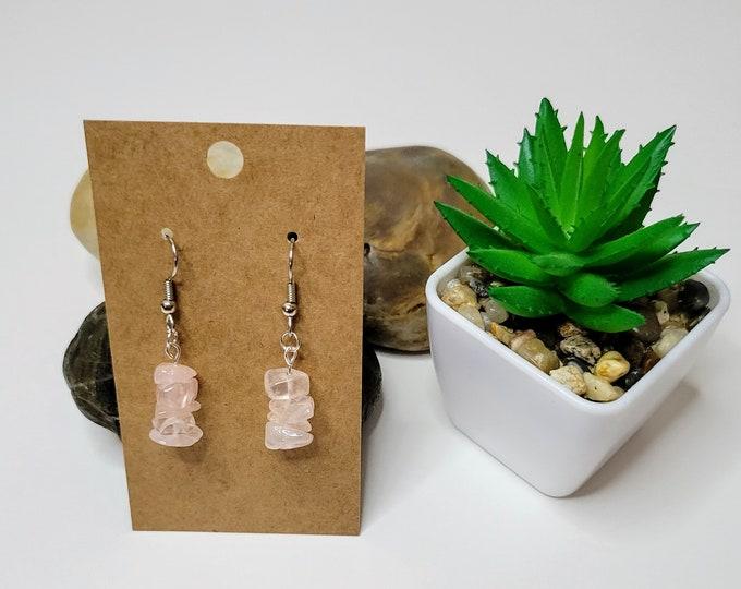Rose Quartz Stacks Dangle Drop Earrings - Healing Crystal Earrings - Rose Quartz Stone Earrings