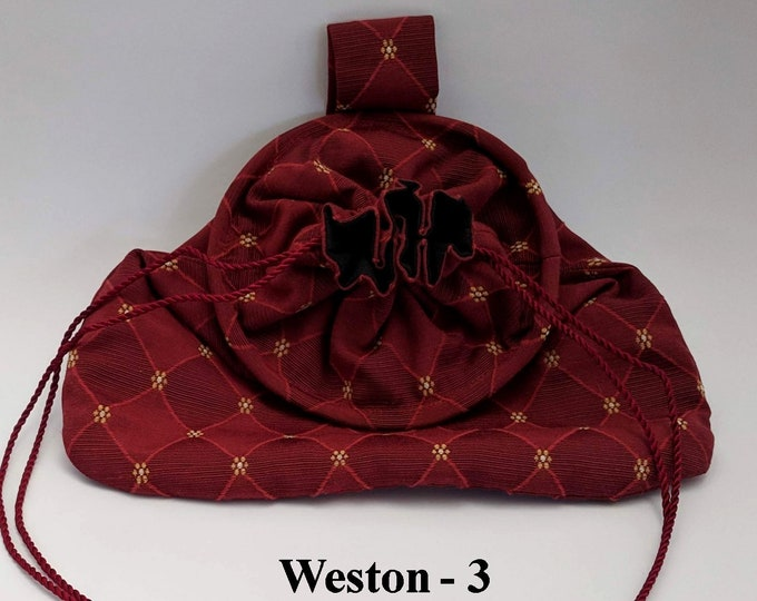 In Stock! Burgundy Weston Drawstring Hoop Belt Pouch - Game Bag Renaissance