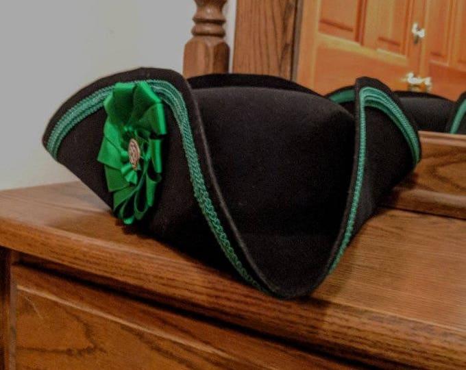 Green Folded Cockade - Trimmed Tricorn - Colonial Subaltern's Felt Hat - Irish 18th c.