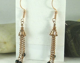 Temple Bell Earrings with Chains and Obsidian  - Dragon Glass Lava