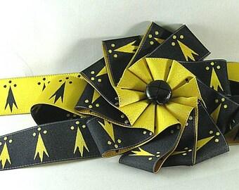 Pean or Erminois Cockade - Gold & Black Ribbon - SCA - Ermine Spots