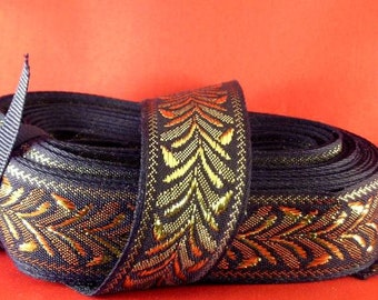 "Gold Metallic Wheat Trim - 1"" Black - Renaissance Faire - Victorian"