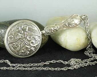 Round Sterling Silver Girdle Mirror - Elizabethan Renaissance