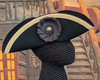 Gold Trimmed Tricorn - Cockade Hat - Colonial Tricorne - Pirate Hat