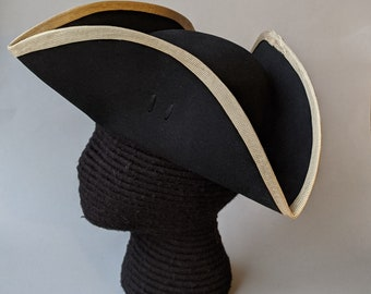 Edge Trimmed Tricorn - Gold Edging - Colonial Tricorn