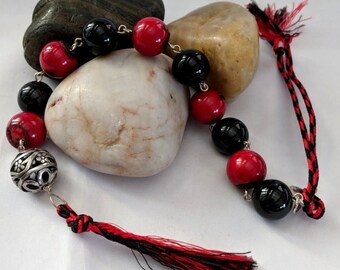 Onyx and Coral Tenner Chaplet - Paternoster - Catholic Zehner