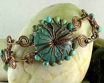 Aztec Sunrise Turquoise Donut Woven Wire Wrapped Bracelet