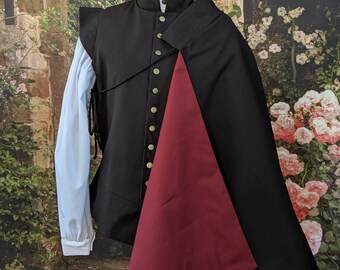 In Stock! Burgundy Lining Black Fencing 1/2 Cape SCA Rapier Fighting