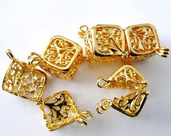 Square or Shell Filigree Gold Cages - Silver Prayer Box - Pendants