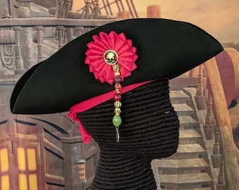 Pirate Tricorn - Skull Cockade Pin - Trade Beads - Bandana - Felt Hat