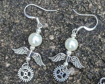 Steampunk Wing and Gear Pearl Dangle Earrings