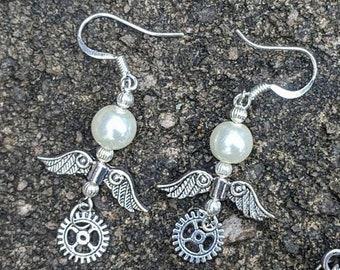 Steampunk Wing and Gear Pearl Dangle Earrings