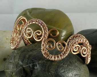 Scroll Wire Wrapped Copper Bracelet  Cuff