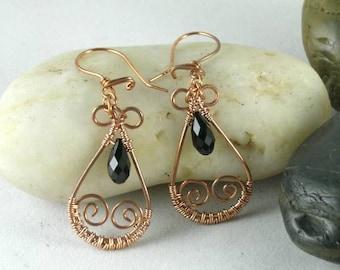 Jet Black Swarovski Crystal  Wire Wrapped Copper Earrings